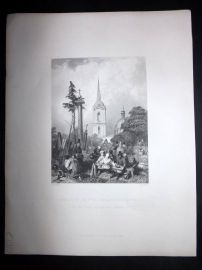 After Vickers 1846 Antique Print. Cemetery of the Smolensko Church, Russia